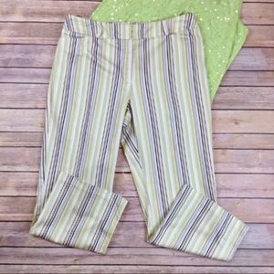 Tribal green striped stretch capris with pockets
